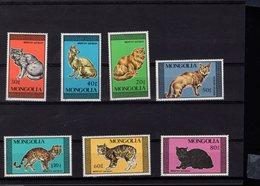 694019122 MONGOLIA POSTFRIS MINT NEVER HINGED POSTFRISCH EINWANDFREI SCOTT 1613 1619 DOMESTIC AND WILD CATS - Mongolie