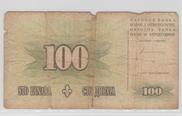 BOSNIE HERZEGOVINE 100 Dinara 1994 P44a VG- - Bosnie-Herzegovine