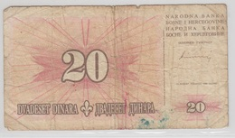 BOSNIE HERZEGOVINE 20 Dinara 1994 P42a VG- - Bosnie-Herzegovine