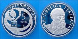 ITALIA 5 E 2008 SILVER EURO PROOF ANTONIO MEUCCI INVENTOR DISCOVERY WEIGHT 18g TITOLO 0,925 CONSERVAZIONE FDC UNC. - Italy