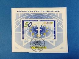 2007 ITALIA FOGLIETTO USATO SOUVENIR SHEET USED - TRATTATI DI ROMA - 6. 1946-.. Repubblica