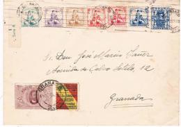 España. Carta Circulada Con Sellos Locales Y Sellos De Granada - 1931-50 Lettres
