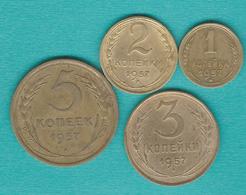 USSR - Soviet Russia - 1957 - 1, 2, 3, 5, 10, 15 & 20 Kopecks (KMYs 119-125) - Russie