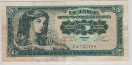 YOUGOSLAVIE 5 Dinara 1965 P77a VG+ - Yougoslavie