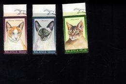 694027099 MALAYSIA POSTFRIS MINT NEVER HINGED POSTFRISCH EINWANDFREI SCOTT 688 690 DOMESTIC CATS - Malaysia (1964-...)