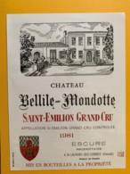 9505  - Château Bellile-Mondotte 1981 1L50  Saint Emilion - Bordeaux