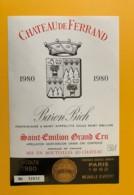 9506  - Château De Ferrand  1980 1L50  Saint Emilion - Bordeaux