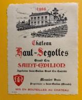 9511  - Château Haut-Ségottes 1966  Saint Emilion - Bordeaux