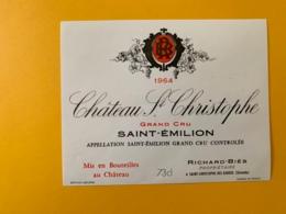 9510  - Château St Christophe 1964  Saint Emilion - Bordeaux