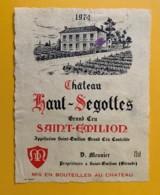 9512  - Château Haut-Ségottes 1974  Saint Emilion - Bordeaux