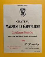 9513  - Château Magnan La Gaffelière 1976 Saint Emilion - Bordeaux