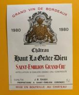 9515  - Château Haut La Grâce Dieu 1980 Saint Emilion - Bordeaux