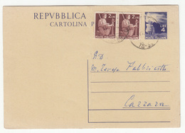 Italy, Postal Stationery Cartolina Postale Travelled 1947 B190101 - 6. 1946-.. Repubblica