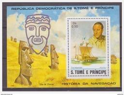 0435 Sao Tome 1982 Sailingboat Thor Heyeredahl Kontiki Statue Eastern Island S/S MNH - Persönlichkeiten