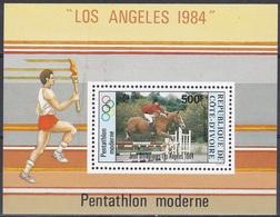 Elfenbeinküste Ivory Coast Cote D'Ivoire 1984 Sport Spiele Olympia Olympics Reiten Riding Pferde Horses, Bl. 26 ** - Côte D'Ivoire (1960-...)