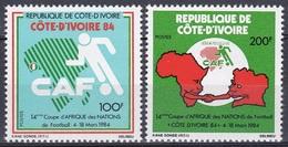 Elfenbeinküste Ivory Coast Cote D'Ivoire 1984 Sport Spiele Fußball Football Soccer Landkarten Maps, Mi. 806-7 ** - Côte D'Ivoire (1960-...)