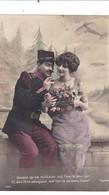"""CARTE FANTAISIE. SÉRIE 5 CARTES. MILITARIA. COUPLE """" L'AVION PLANE DANS LES CŒURS """" . ANNEE 1913 SAINT MAIXENT L'ECOLE - Couples"""