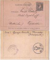 Monaco 1889, K3, 25 C. Karten Brief Ganzsache, Gebr. N. Österreich. Bedarf! #240 - Monaco