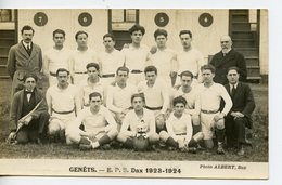 243. CPA PHOTO. GENÊTS. EPS DAX 1923-1924 - Rugby