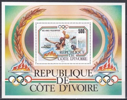 Elfenbeinküste Ivory Coast Cote D'Ivoire 1983 Sport Spiele Olympia Olympics Wassersport Wasserball Water Polo, Bl. 25 ** - Côte D'Ivoire (1960-...)