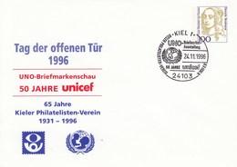 PU 350 C2/8a Tag Der Offenen Tür 1996 - UNO Briefmarkenschau Unicef - 65 Jahre Kieler Philatelisten-Verein 1931-1996, Ki - BRD