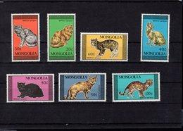 694045672 MONGOLIA POSTFRIS MINT NEVER HINGED POSTFRISCH EINWANDFREI SCOTT 1613 1619 DOMESTIC AND WILD CATS - Mongolie
