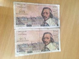 2 Billets De 10 Francs Nouveaux  1959K  Et 1960 B  Richelieu - 1959-1966 Nouveaux Francs
