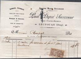 Lectoure (32 Gers) Facture  PAUL DUPRE Serrurerie Ferronerie  1911 (PPP16535) - Old Professions