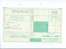 Compagnie Des Wagons Lits Traitements Et Salaires Déclarations Des Rémunérations Payées Au Cours De Années 1970 - Chemins De Fer