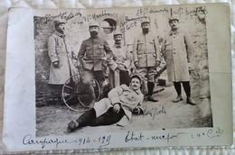 CPA MILITARIA 1914 15 CARTE PHOTO Etat Major 10è Cie 40è POUY (aube) TB Plan Soldat Draisienne Secteur Postal 130 - Regiments