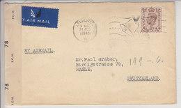 LETTRE DE 1945 AVEC CONTROLE DE CENSURE POUR LA SUISSE - - 1902-1951 (Rois)