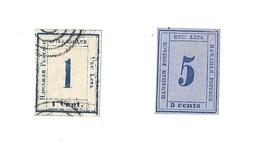 2 TIMBRES POSTES HAWAI Hawaii ETATS UNIS Timbre Poste USA HAWAHAN POSTAGE UKU LETA UNTER ISLAND 1c Cent Et 5c Cents Bleu - Hawaï
