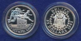 Belize 25 Dollar 1992 Hürdenlauf Ag925 - Belize