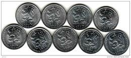 Tschechoslowakei - Tchécoslovaquie 9 Different 10 Halier, Haler 1974, 1975, 1976, 1977, 1978, 1979, 1980, 1981, 1982 - Tchécoslovaquie
