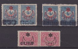 CILICIE : 3 PAIRES . ** . DIVERSES VARIETES DE SURCHARGE . 1919 . - Cilicie (1919-1921)