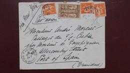 Lettre De Paris Pour Trinidad Janvier 1937 Affranchi Type Paix Et St Trophime Tarif 6,50 Fr Via New York Par Avion - Marcofilie (Brieven)