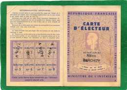 CARTE D'ELECTEUR1986 LIEU DE VOTE MAIRIE  MAIRIE DE GARCHIZY  NIEVRE SALLE DES LOISIRS - Cartes