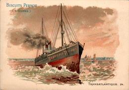 9) CHROMO Biscuits Pernot ( 4 Usines ) Transatlantique Paquebot Boat N°24 En TB.Etat - Pernot