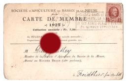 Apiculture 1925 Carte De Membre De La Société D' Apiculture Du Bassin De La Meuse Le Rucher Belge - Cartes