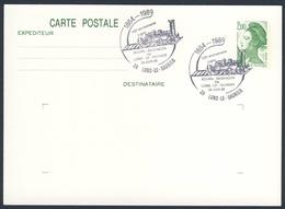 France Rep. Française 1989 Card / Karte / Carte - 125e Ann. Ligne Bourg-Besançon Par Lons-Le-Saunier / Eisenbahn - Treinen
