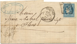 Bayonne !64) Lettre Avec 20c Cérès N°45 Report 2 Sur Lettre 1870 - 1849-1876: Période Classique