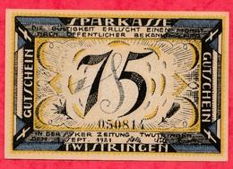 Allemagne 1 Notgeld De 75 Pfenning Stadt Twistringen Dans L 'état  N °2726 - Collections
