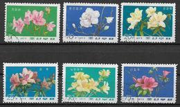 COREA DEL NORD 1975  FIORI  AZALEE,RODODENDRI  YVERT. 1335-1340 USATA VF - Corea Del Nord