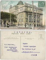 Canada Quebec Montreal The Court House Color PPC 10mar1909 To Italy Pr.Matter Rate With King C.1 Solo - Montreal