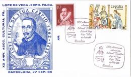 31021. Carta Exposicion BARCELONA 1986. Lope De Vega, Literatura - 1931-Hoy: 2ª República - ... Juan Carlos I