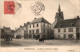 ANGERVILLE (91) La Plage Du Marché Et L'Eglise - Belle Carte Postée En 1905 - Angerville