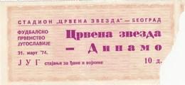 FK Crvena Zvezda Red Star Beograd Belgrade NK Dinamo Zagreb 31.03.1974. Ticket Fc Football Yugoslavia Serbia Croatia - Tickets D'entrée