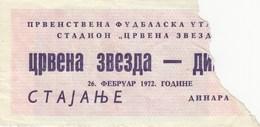 FK Crvena Zvezda Red Star Beograd Belgrade NK Dinamo Zagreb 1972. Ticket Fc Football Yugoslavia Serbia Croatia - Tickets D'entrée