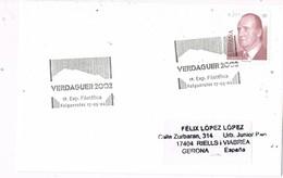 31026. Carta Exposicion FOLGUEROLAS (Barcelona) 2002. Jacinto Verdaguer - 1931-Hoy: 2ª República - ... Juan Carlos I