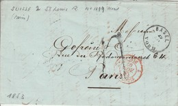SUISSE  2 St LOUIS R  En Rouge 30 Novembre 1853,  Entrée Par Courrier -convoyeurs-ambulants   Réf  1199 Noël - Marques D'entrées